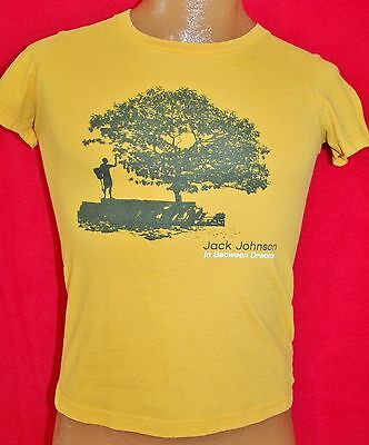 JACK JOHNSON In Between Dreams Yellow Women's Girly T-SHIRT M American Apparel