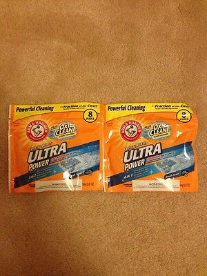 2 Arm & Hammer Plus Oxi Clean Stain Fighters Crystal Burst Ultra Power 8 Paks