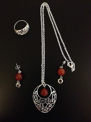 3 Piece Silver And Red Agate Stone Jewelery Set