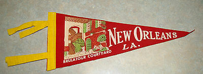 Vintage Rare American 'new Orleans, L.a.' 'brulatour Courtyard Felt Pennant