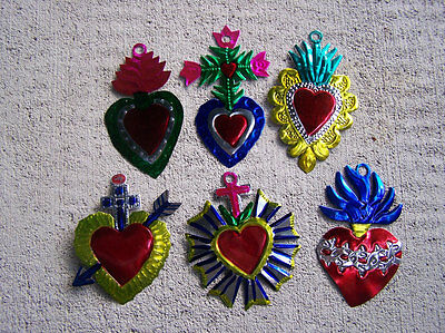 Heart Milagro lot - 6 Larger Painted Tin Mexican Milagros Hearts - Mexico