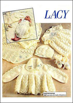 Baby Lacy Outfit - 4 Piece - Vintage Knitting Pattern