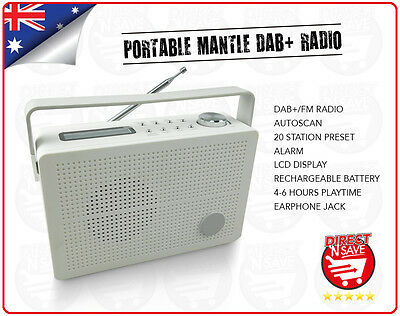 Portable Mantle DAB+ Radio Digital Radio Alarm 4-6 hours. Rechargeable Battery