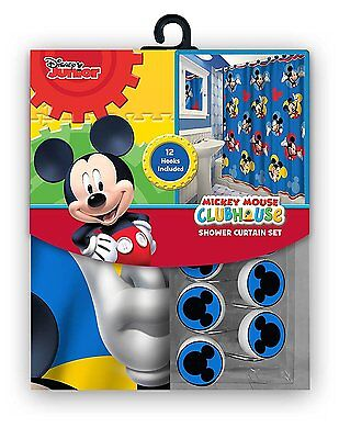 NEW 13pc Disney Mickey Mouse Clubhouse Shower Curtain & Hooks Bath Set