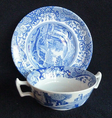Spode Italian Handled Soup Coupe Cup & Saucer Blue & White China
