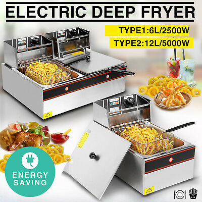 Commercial Electric Deep Fryer Tabletop Restaurant Frying Basket Scoop 6L / 12L