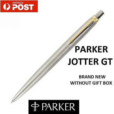 Parker Jotter GT Ball point Pen Gold Trim New Blue Ink Stainless steel barrel