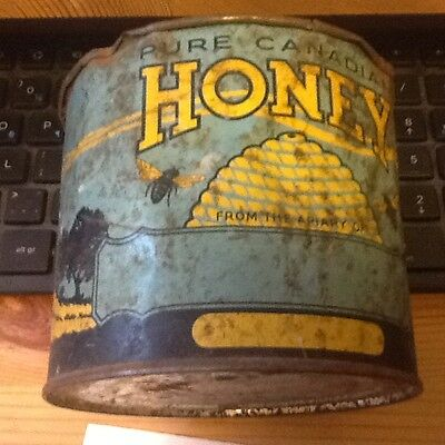 Vintage Blue Pure Canadian Honey Tin can 2LBS lot C