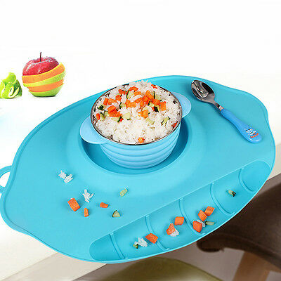 One-piece Silicone Mat Baby Kids Table Food Dish Tray Placemat Plate Bowl Gift