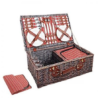 NEW 4 Person Family Picnic Brown Willow Basket Set with Cooler Bag and Blanket