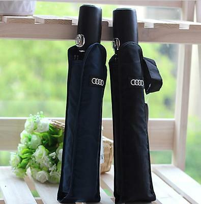 Audi Logo Black/Blue Business Man Windproof Compact Automatic Folding Umbrella