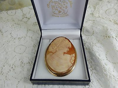 Large Vintage 9ct 9carat Gold Cameo Brooch / Pendant