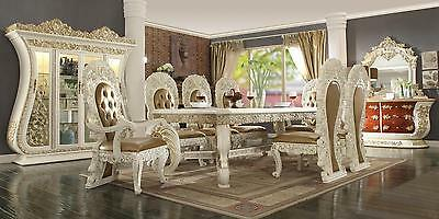 Homey Design HD-8019 Classic Antique Cream Finish Dining Room Set 10 Pcs