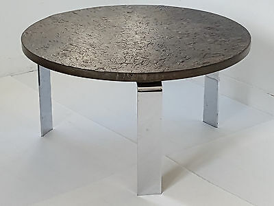 Peter Draenert: Beautiful Coffee Table round in Shale & Chrome 1960 Vintage
