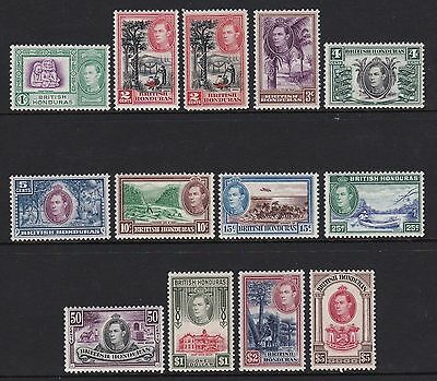 British Honduras 1938 set of 12 + 2c Perf 12 - lightly mounted mint £190