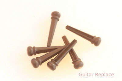 Pines Puente Guitarra Ebano, Ebony Acoustic Guitar Bridge Pins Set