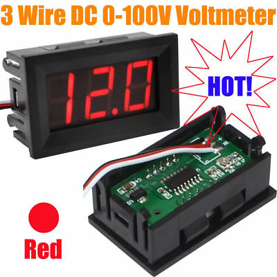 "New 3 Wire Red 0.56"" DC0-100V External Power Supply Led Voltmeter Voltage Tester"