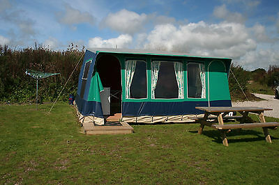 CORNWALL GLAMPING CAMPING HOLIDAY Nr PORTHLEVEN STATIC EURO TENT SLEEP 6