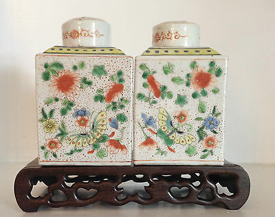 Pair Antique Qing Chinese Export Porcelain Famille Verte Tea Caddies ~Marked