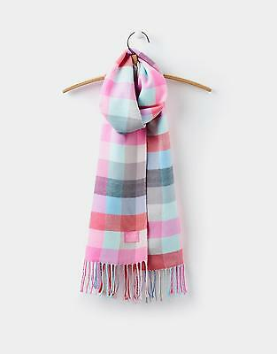 Joules Bracken Scarf in Soft Coral Check in One Size