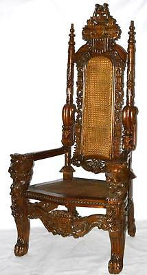 Antique Gothic Carved Throne Chair - FREE Shipping [PL2238]