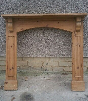 Antique pine fireplace mantelpiece wooden fire surround