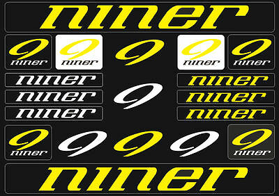 niner mountain bicycle frame decals stickers graphic adhesive set vinyl yellow