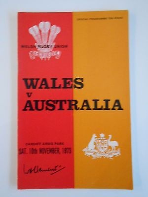 WALES v AUSTRALIA 1973 10th NOVEMBER RUGBY PROGRAMME