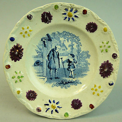 Victorian Childs Pottery Blue & White Transfer Enamel Plate C.1840