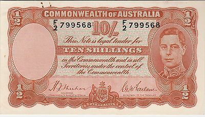Australia 10 Shillings Banknote (1939) Choice  About Uncirculated Cat#25-A-9568