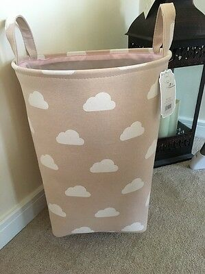 Girls Pink Clouds Nursery Baby Laundry Clothes Toy Hamper Storage Box Tidy