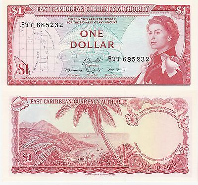 Eastern Caribbean States,1 Dollar Banknote 1965 Uncirculated Grade Cat#13-F-5232