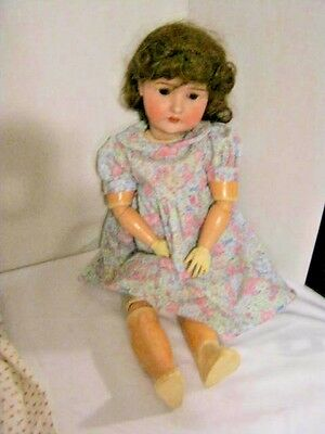 """Vintage 23"""" Pansy III Germany Wooden Bisque Head (Socket) w/ 2 Dresses 1881-1959"""