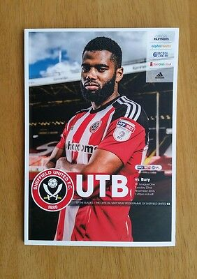 2016/17 SHEFFIELD UNITED v BURY   -  NEW & UNOPENED