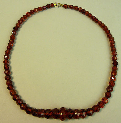 A Vintage Faceted Amber Bead Necklace 9K Gold Clasp 16 Grams