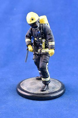 **SALE** 120mm Resin hand painted Firefighter figure - in BA with hose