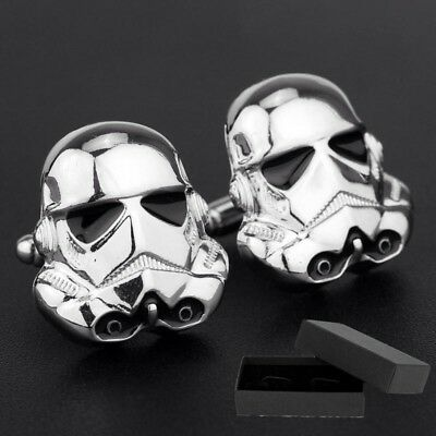 Star Wars - Silver Storm Trooper 3D Cufflinks - Gift - Pouch Or  *cufflink Box*