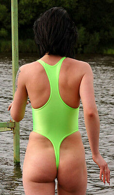 Studio White Shark Lime Spandex Women's Thong Leotard Choose Your  Size S M or L