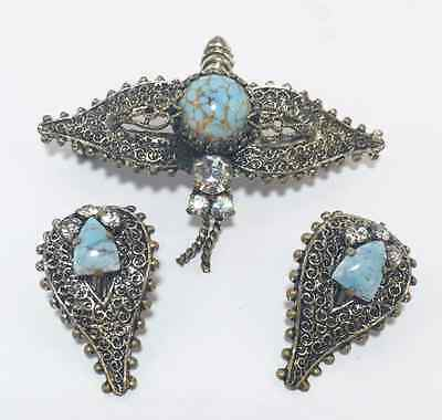 Vintage Dragonfly Brooch & Earrings Set Silver and Turquoise Art Nouveau Style