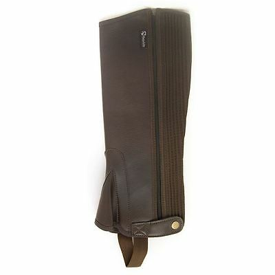 Requisite synthetic Half Chaps Zip Horse Riding Equestrian Accessories Brown L
