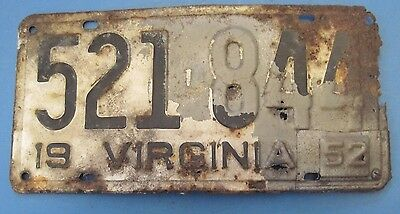 1951/52 Virginia license plate all original