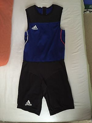 a1104228a0c4 Adidas Adipower Weightlifting Suit Singlet Blue Rogue Powerlifting Squat  Fitness