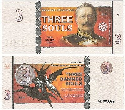 Bank Of Damned Souls 3 Souls 2014 NEW Fantasy Banknote - Wilhelm II Demons Hell