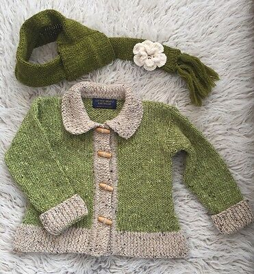 Gorgeous Hand Knitted In Ireland, 100% Wool Cardigan And Scarf Set, Girl 4 Years