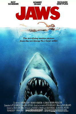 Jaws 1975 Movie Film promo poster