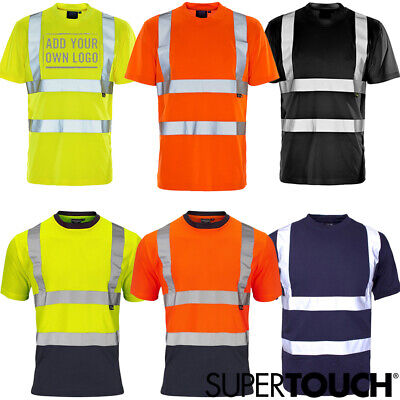 Hi Viz Visibility Short Sleeve T Shirt Crew Neck Safety Work High Vis Two Tone