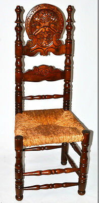Antique Gothic Beech & Rush Seat Chair with Carved Headrest [PL2238]