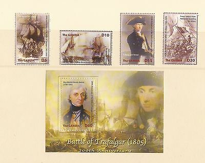 Set Of 4 Stamps & Mini Sheet The Gambia Stamps -  Trafalgar /  Nelson Mint