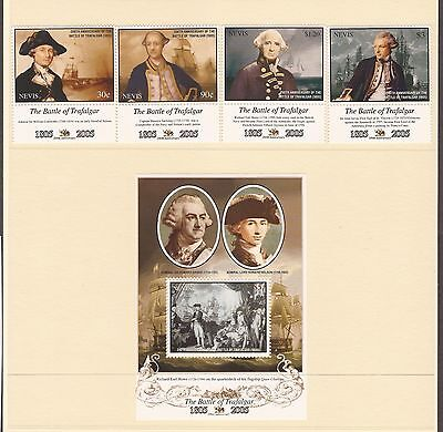 Set Of 4 Stamps & Mini Sheet Nevis Stamps -  Trafalgar /  Nelson Mint