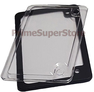 Black Metal Motorcycle License Plate Tag Frame Clear Cover Plastic Bug Protector